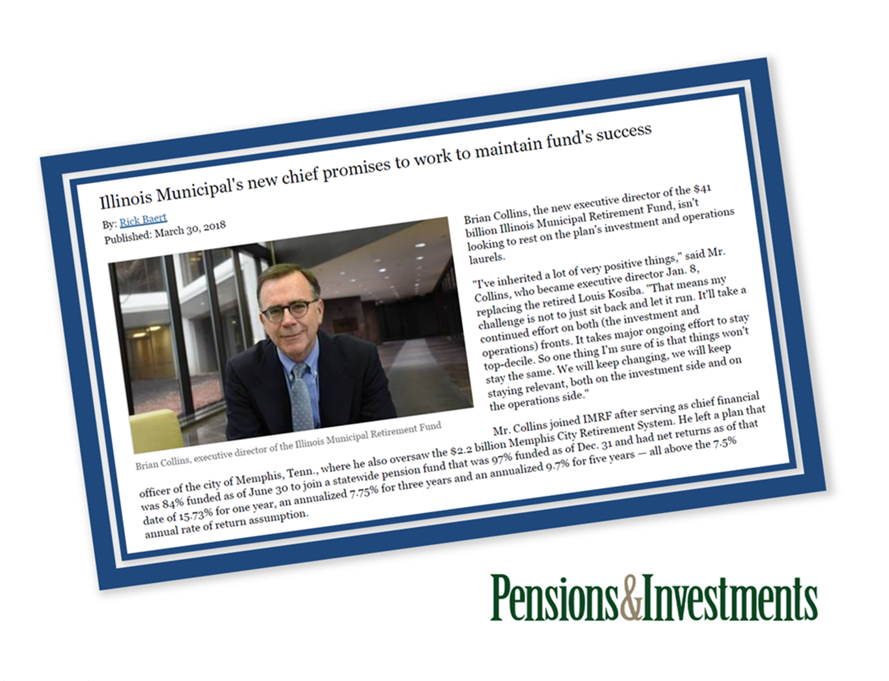 IMRF's Brian Collins featured in Pensions & Investments