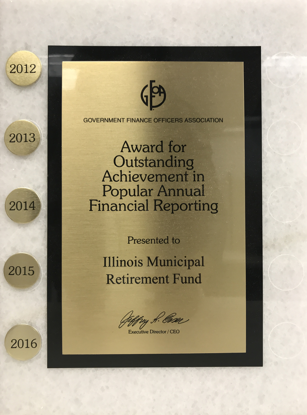 PAFR Award for 2016 Report